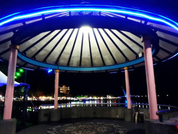 Blue Built Structure Glowing Illuminated Light Night Outdoors Pattern