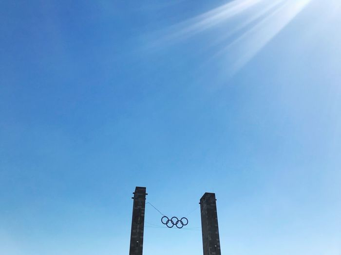 Berlin Olympiastadion Sky Blue Low Angle View No People Nature Day Architecture Built Structure Outdoors High Section Metal Sunlight Cloud - Sky