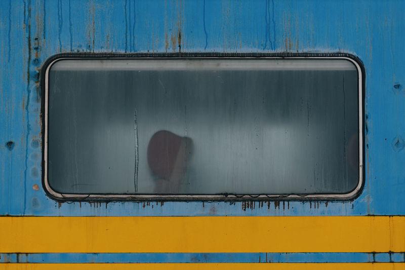 Passenger window on old train.