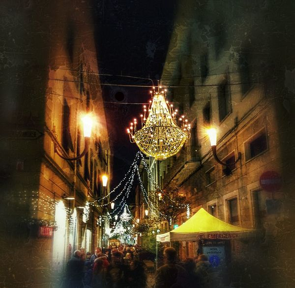 xmas light... People People Photography Gente Street Photography Strada Viale Giocare Con La Luce Luci Di Natale Natale  Natale 2017 Luci Night Illuminated Lighting Equipment Low Angle View Hanging No People Built Structure Celebration Christmas Decoration Christmas Lights Architecture Building Exterior City Outdoors EyeEmNewHere EyeEmNewHere HUAWEI Photo Award: After Dark