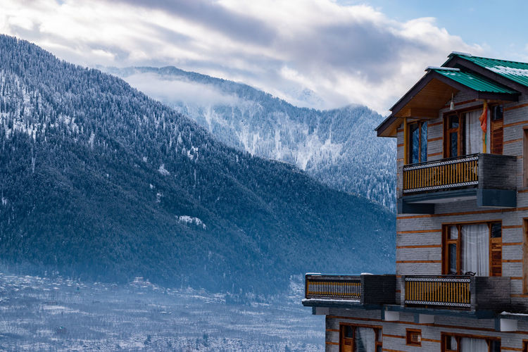 Manali, himachal pradesh, during winter after heavy snow fall.