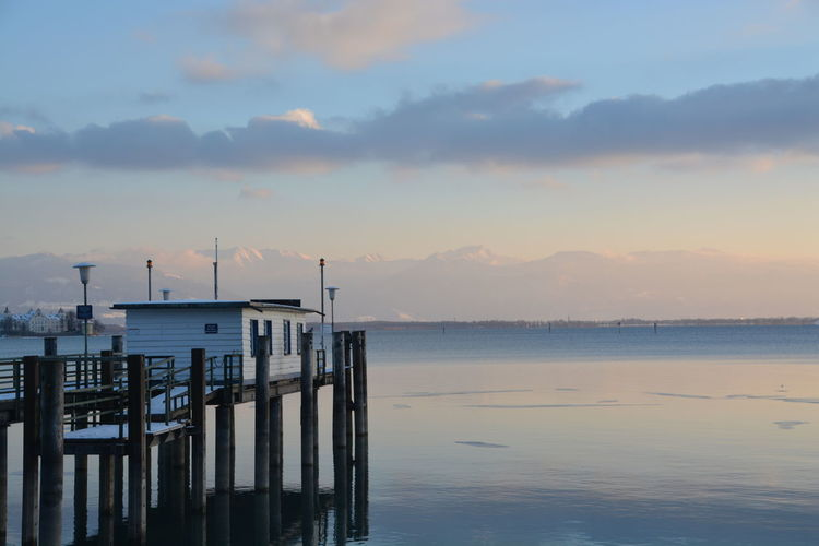 Beauty In Nature Bodensee Idyllic Lake Constance Lindau Mountain Nature No People Outdoors Scenics Sea Sky Snow Sunset Tranquil Scene Tranquility Water