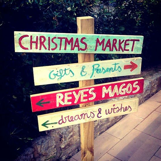 The Culture Of The Holidays Christmas Market The Three Kings Reyes Magos Arrow Symbol Sign Board No People Cute Gifts Presents Dreams And Wishes Dreams Wishes Puerto Portals Portals Nous Mallorca SPAIN