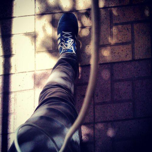 Leg Way Firs Redo pavement footpath physics exam adidas blue shoe