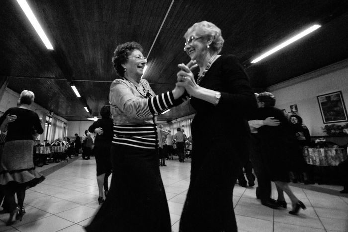 Dancing Ladies Ballroom Black & White Black And White Casual Clothing Dance Dancing Illuminated Indoors  Leisure Activity Lifestyles Old Woman Old Women Person Togetherness Warm Clothing Woman Women