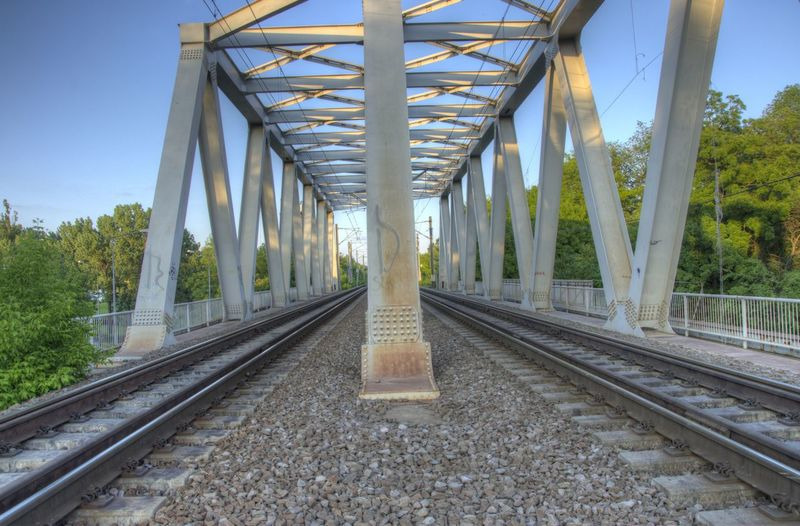 Architecture Bridge - Man Made Structure Bucharest Built Structure Day HDR LINE No People Outdoors Rail Rail Transportation Railroad Track Railway Railway Track Romania Sky The Way Forward Train Transportation