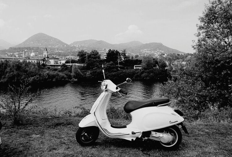 Ready, steady, go!! Let's Go. Together. Travelling Outdoor Travel Photography EyeEm Gallery EyeEmNewHere Motorcycle Photography Black & White Vespa Lake Hill EyeEm Best Edits EyeEm Selects Tree Outdoor Photography White Black And White Mode Of Transport Riding Vacations Wheel Motorcycle Good Morning Hello World Sommergefühle