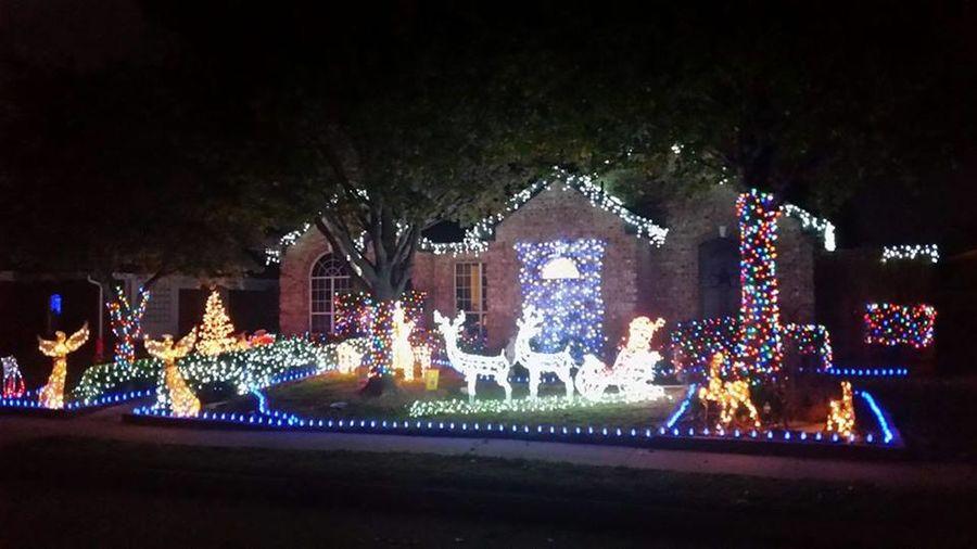 Christmas Christmas Decoration Christmas Lights Illuminated Night No People Outdoors Santa And Sleigh