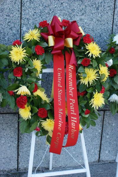 Flower Flower Head Marines Memorial Pearl Harbor Pearl Harbor Memorial Red US MARINES Veterans Memorial Wreath