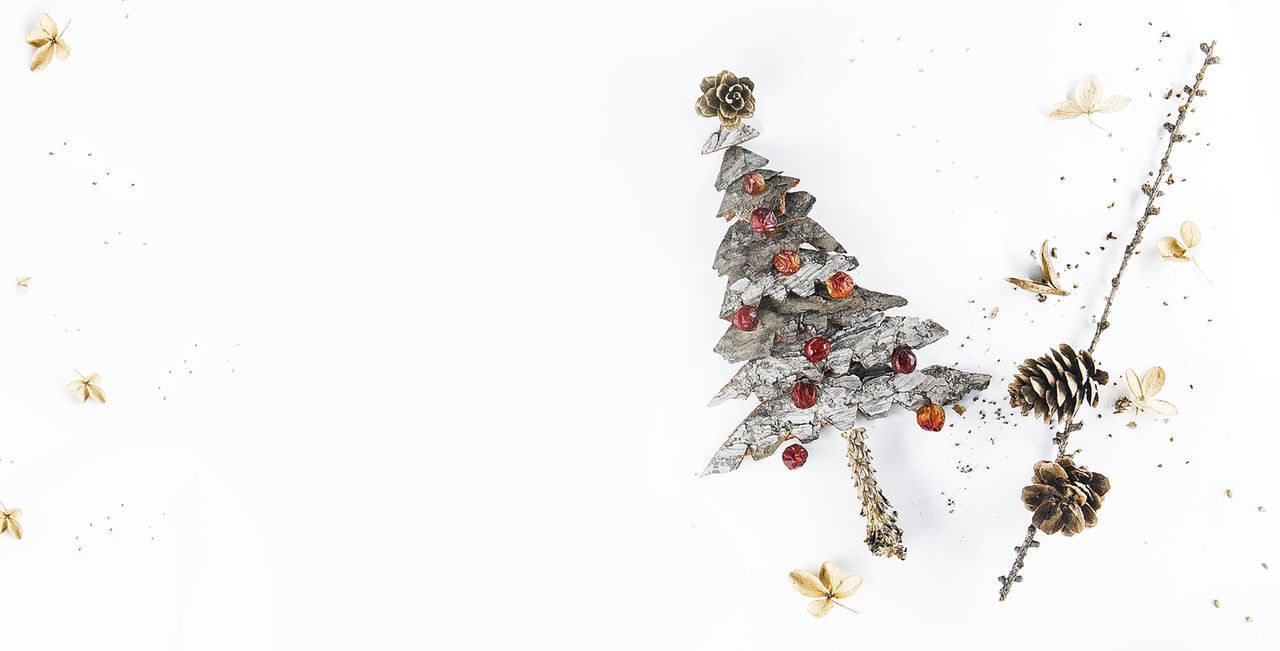 snow, holiday, no people, high angle view, christmas, copy space, celebration, decoration, indoors, winter, white background, studio shot, white color, still life, nature, tree, cold temperature, directly above, christmas ornament