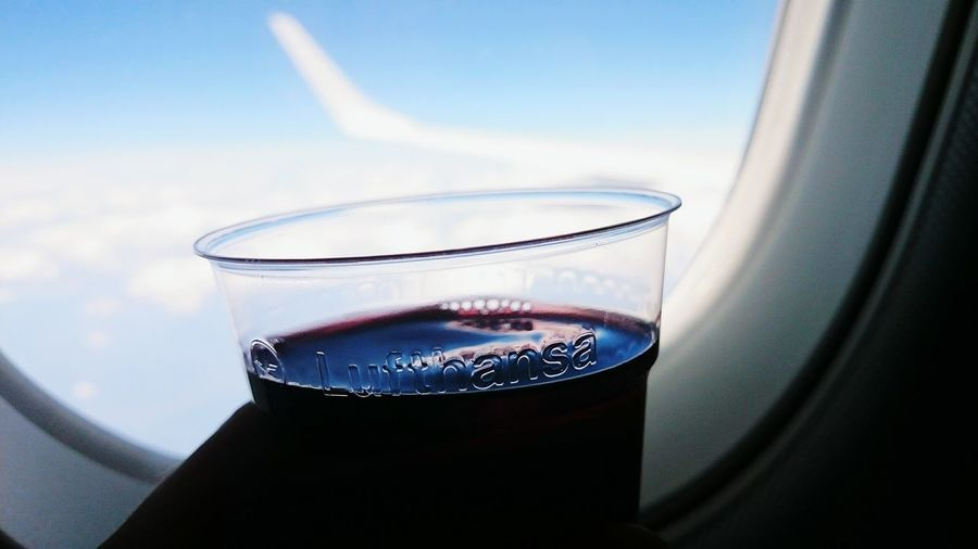 vino sip in the air. Wine Moments Wine Flight ✈ Sky Plane Window View Clouds Mountains Alps Lufthansa Cup Sippin' Holidays