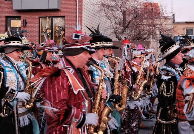 MummersParade2018 Phillylove ❤️ Phillygram Large Group Of People Architecture Celebration Building Exterior Built Structure Real People Headwear People Day Adults Only Men