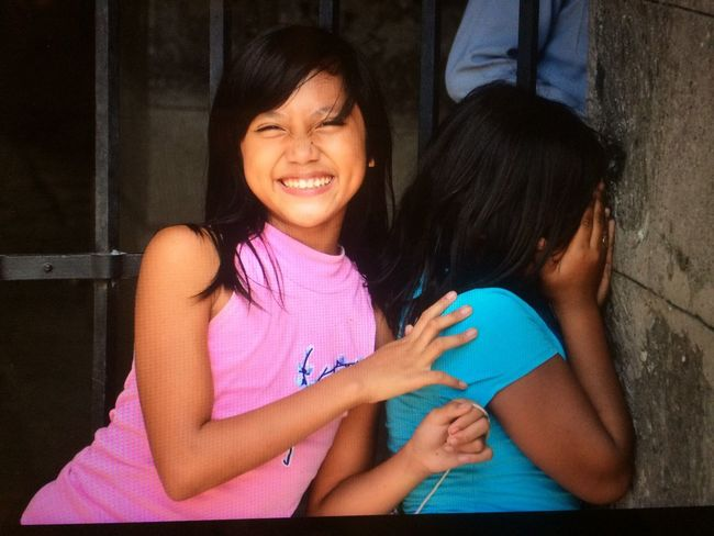 Happy Poor Girls Teens in Manila Slums Life Happy Childs Smiling Girls Manila Happiness Two People Happiness Smiling Adult Women Cheerful Real People People Child