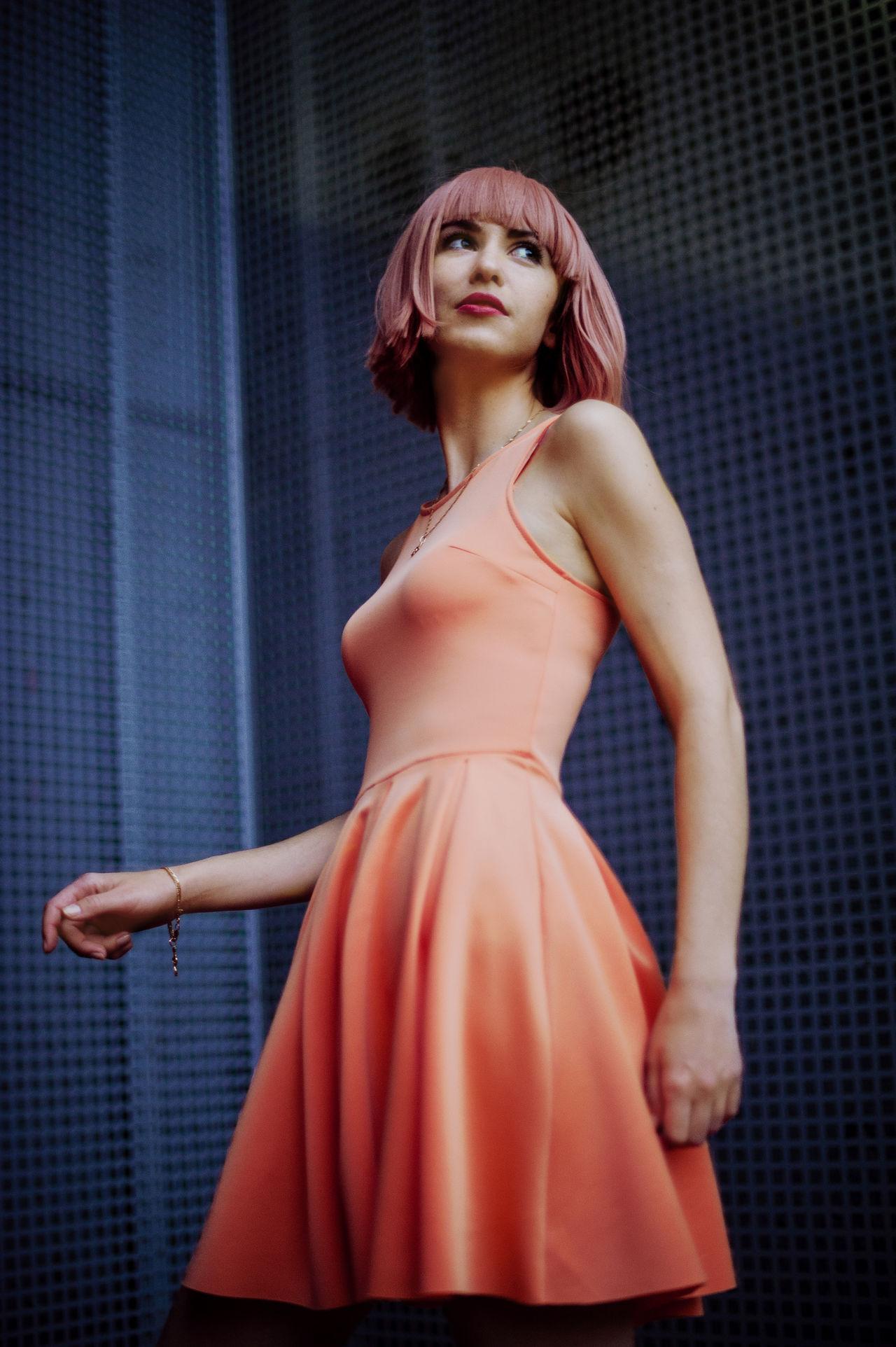 25-29 Years,  Beautiful Woman,  Beauty,  Blue Background,  Dress