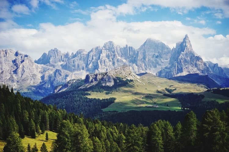 Dolomites in Italy mountain panorama Tirol  Italy Blue Sky Panorama Mountain Dolomites Mountain Beauty In Nature Sky Scenics - Nature Cloud - Sky Plant Mountain Range Tree Tranquility No People Tranquil Scene Nature Cold Temperature Snow Day Winter Landscape Environment Growth Snowcapped Mountain