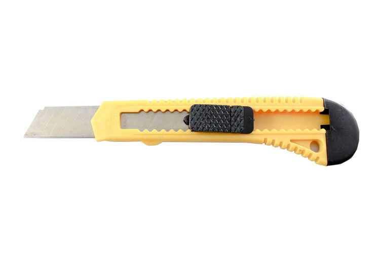 Yellow Knife Cutter Isolated In White Creativity Cut Cutting Isolated Knife Metalic SLICE Work Blade Careful Chrome Close-up Concept Handyman Hardware Instrument Object Pression Razor Safe Safety Sharp Studio Shot Switchblade White Background