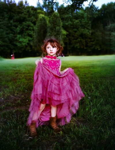The Portraitist - 2019 EyeEm Awards Tree Child Childhood Portrait Full Length Girls Looking At Camera Pink Color Grass Sky
