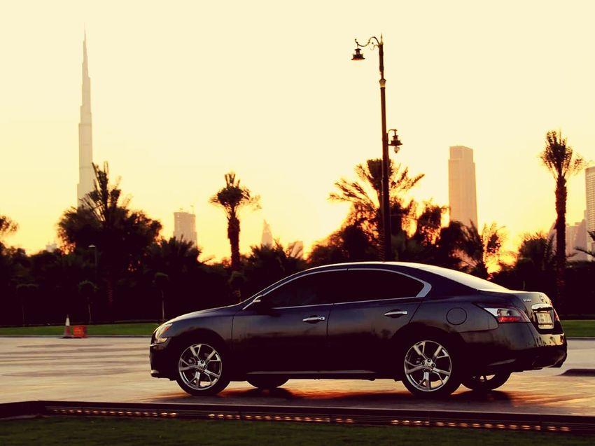 My new ride.... ☺ NissanMaxima MyCar On The Road Burj Khalifa Zabeel Enjoying Life