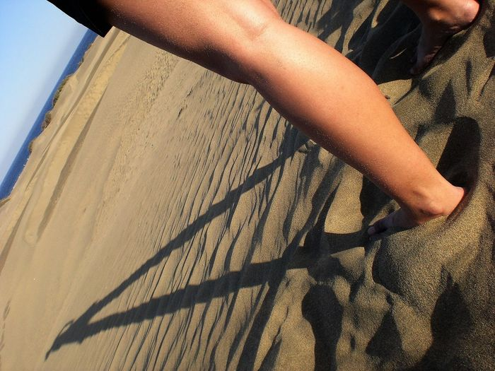 Close-up Cropped Day Leisure Activity Lifestyles Nature Outdoors Part Of Tilt Unrecognizable Person Dunes De Maspalomas Dunes Playa Del Ingles Gran Canaria Pivotal Ideas Human Body Part Leg Barfoot Shadow