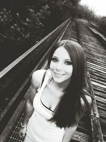 Portrait Looking At Camera Young Adult Beauty Sunlight Smiling Young Women Women Happiness Adult Beautiful Woman Outdoors Nature Train Tracks