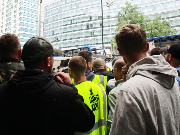 City Centre Crowd Demonstration High Viz Manchester UK Marching Protesting UK Against Hate