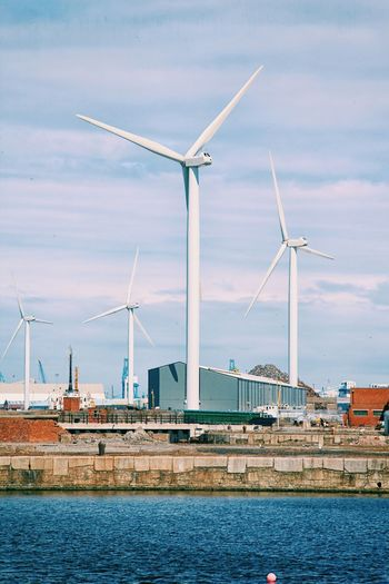 Wind turbines at waterfront