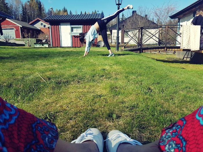 Girl Spring MyDaughters Playground Springtime Low Section Men Standing Human Leg Grass