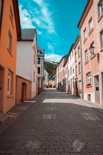 Colorful buildings and an empty street Architecture Luxembourg Architecture Building Building Exterior Colorful Diminishing Perspective Historical Place No People Row House Street Vianden