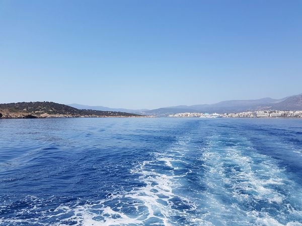 Blue Sea Water Sky Tranquility Nature Rippled Tranquil Scene Beauty In Nature Outdoors Clear Sky Scenics Beach Refraction No People Day Floating On Water Horizon Over Water Astrology Sign Greek Lifestyles No People, Architecture Coffee Time Vacations