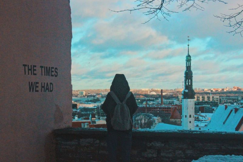 I'm waiting in vain! Ancient Freedom Peace Love Woman Estonia Tallinn Old Town Oldtown Europe Trip Europe Travel Sky Cloud - Sky Built Structure Building Exterior Architecture City Nature Tower Tall - High Building Travel Destinations Transportation Text Communication Rear View Travel Day Mode Of Transportation Outdoors