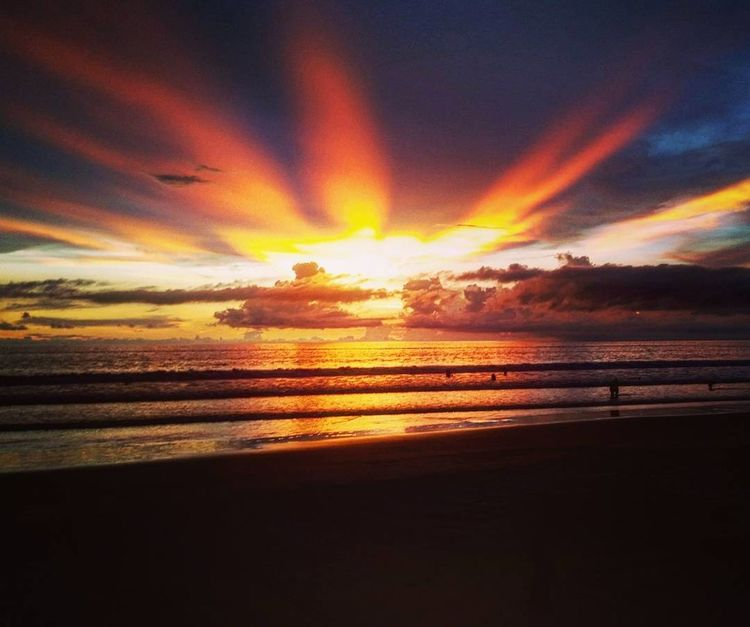 Sunset Sea Beach Dramatic Sky Horizon Over Water Travel Destinations Nature Reflection Beauty In Nature Tranquil Scene Sky Multi Colored Tranquility Montañita Montañita-Ecuador Montañita,Ecuador Landscape Travel Photography