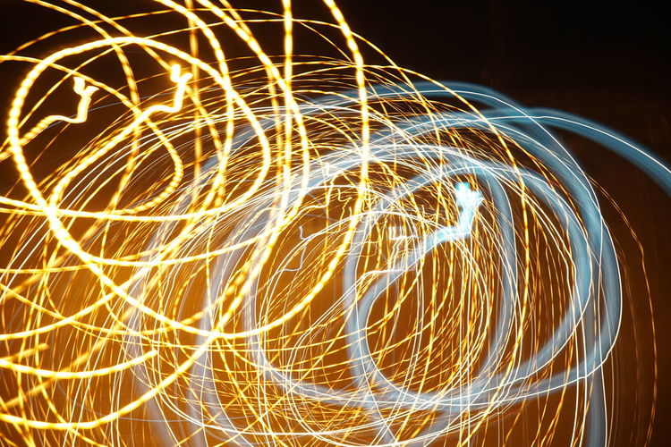 Wire Wool Illuminated Motion Long Exposure Light Trail Pattern Blurred Motion Glowing Light Painting Sky