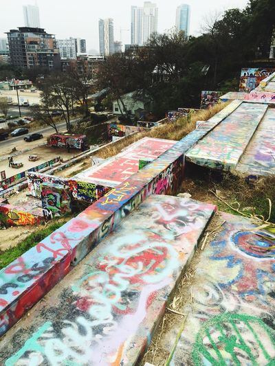 Graffiti Austin Art Climbing I swear it was so hard to get to the top. Steep hill and nothing to hold to then it started to rain so whoop that was fun haha there was some stunning artwork..