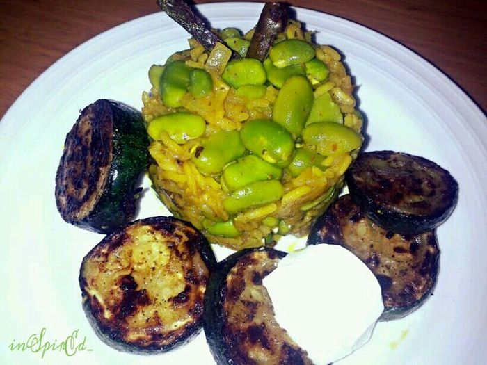 Fava Bean Pilaf served with pan seared courgette The Ville Out Of My Cauldron SZeaglesoul