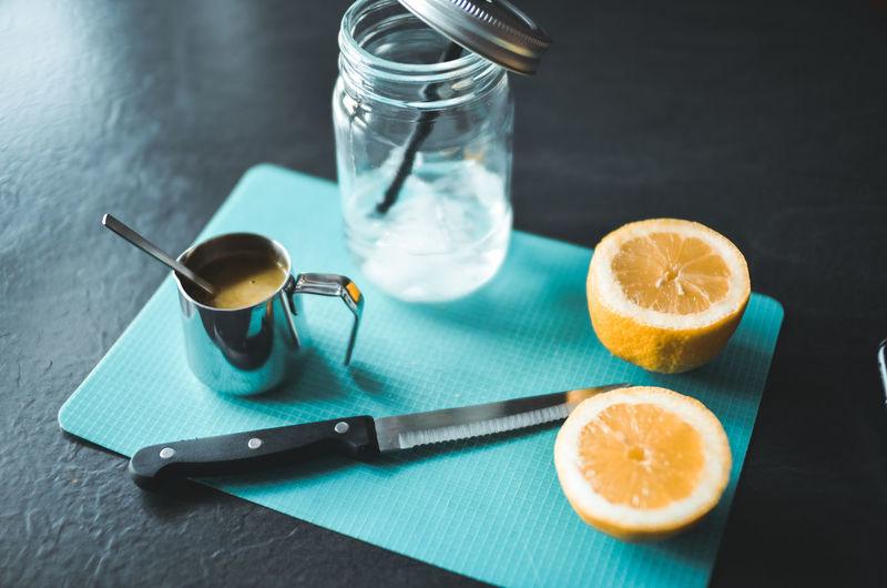 High angle view of lemon on table