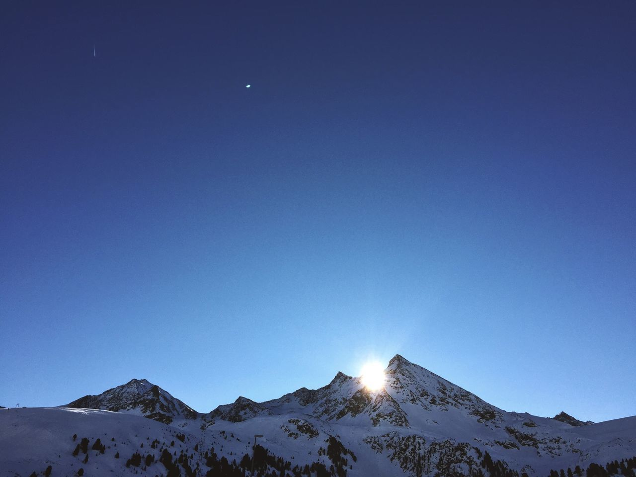 mountain, snow, nature, cold temperature, clear sky, winter, tranquility, blue, beauty in nature, tranquil scene, scenics, copy space, mountain range, outdoors, snowcapped mountain, no people, moon, landscape, day, sky