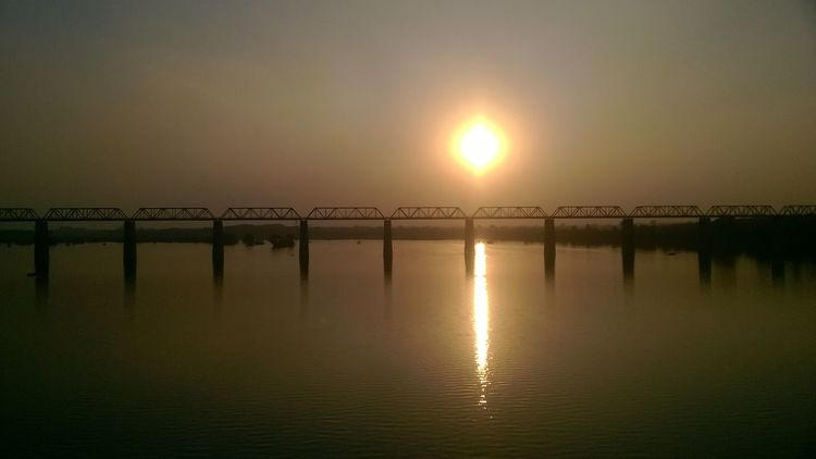 Travelling to jhansi, Good view of betwa river during sunset, pic clicked on moving bus, heart touching view