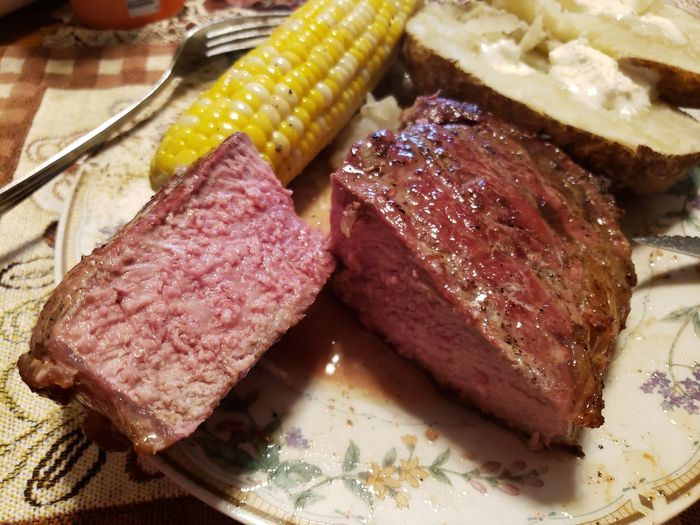Tomahawk Steak From The Smoker Cowboy Ribeye Smoked Reverse Seared Ribeye Beef Meat Barbecue Steak Roasted Preparation  Close-up Food And Drink Red Meat Corn On The Cob Main Course