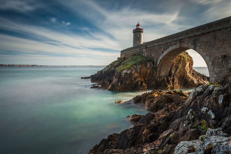 Brittany France Architecture Bridge Building Exterior Built Structure Cloud - Sky Lighthouse Marine Nature Nautical No People Phare Scenics Sea Seascape Travel Destinations Water