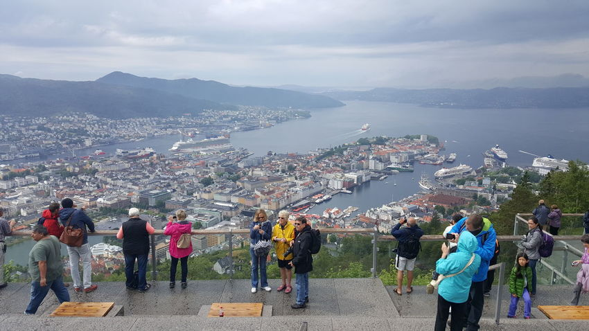 "Fløyen is one of the city mountains in Bergen and one of the city's most popular tourist attractions. Fløyfjellet is the name of the mountain top. It is 399 m above sea level. Looking over the Bergen city centre. The name could originate from fløystangen ""weather cock"", that was set up to provide signals about the direction of the wind when ships were to set sail. The view of the Bergen peninsula makes fløyfjellet a popular attraction among tourists and city locals. It has a funicular system that transports passengers from the center of Bergen to a height of 320 meters in roughly 8 minutes and the highest point (425 meters) on Fløyfjellet is approximately 1 km to the northeast. The funicular is used by tourists and citizens all year-around. Cityscapes EyeEm Best Shots EyeEm Gallery Fløibanen Fløibanen Fløyen Fløyfjellet From My Point Of View Funicular Getting Inspired Hidden Gems  Hiking Landscape Mountain Mountain View Outdoors Panorama Point Scandinavia The Purist (no Edit, No Filter) View View From Above View Point Viewpoint Views"