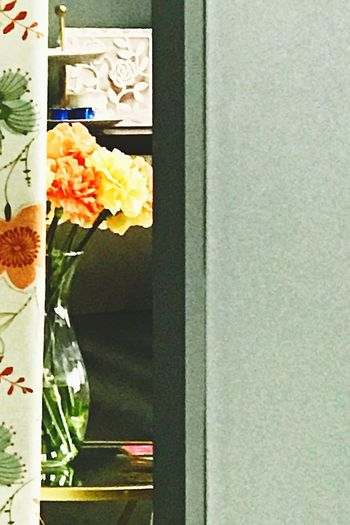 No People Flower Close-up Day Indoors  Hanging Thephotojournalist-2017EyeEmAwards Full Length Peeking Glimpse Flowers Floral Floral Pattern Doorway Doorways VSCO View Salon Beauty In Ordinary Things Carnation Flowers Vase Vase Of Flowers Low Angle View