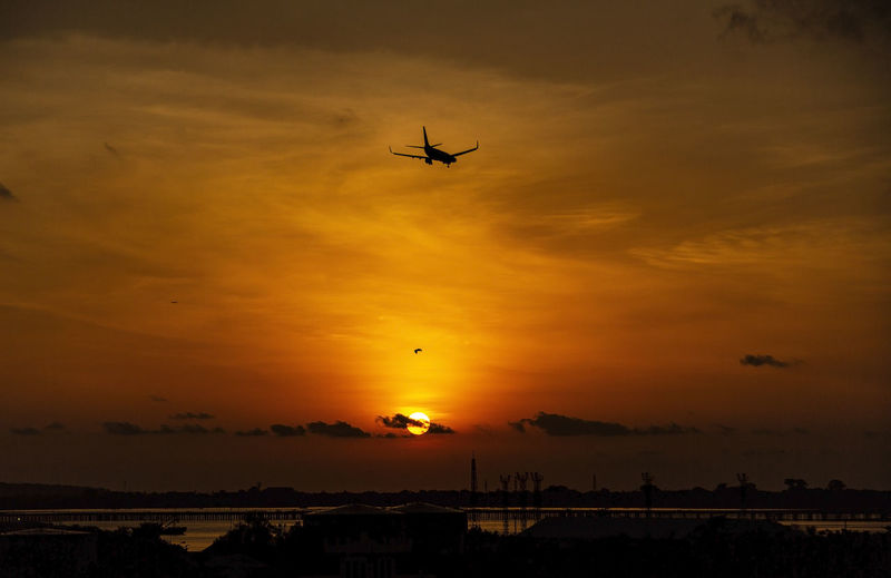 Airplane Flying Commercial Airplane Technology Sunset Air Vehicle Aerospace Industry Mid-air Silhouette Sky