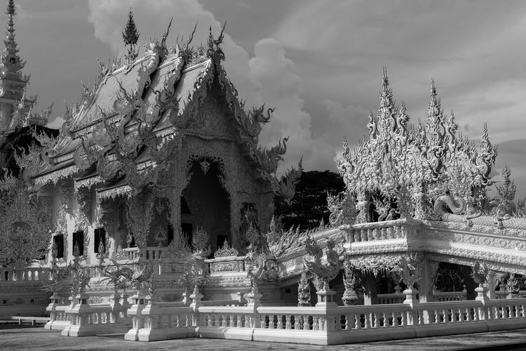 Wat Rong Khun temple Architecture Built Structure Sculpture Sky Building Exterior Religion Art And Craft Belief Travel Destinations Cloud - Sky History Outdoors