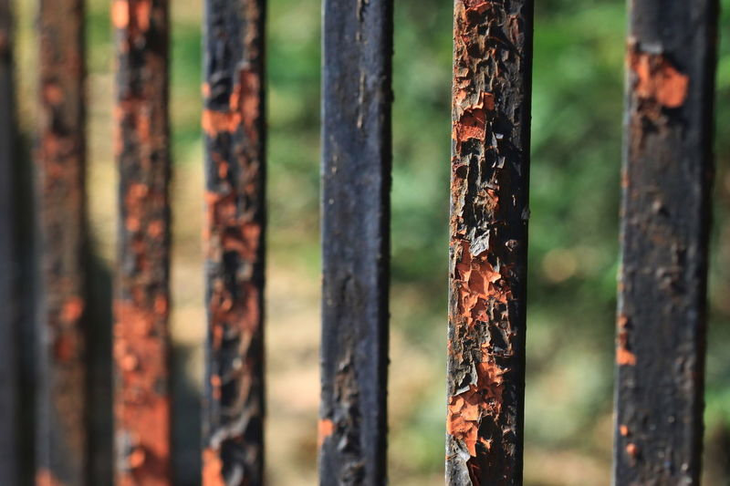 Close-up of weathered metal bars