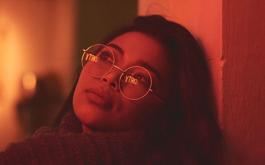 Model: Oleander Omega - Instagram: @oleandrega City Nights Cocktail London Portrait Of A Woman Reflection Adult Beautiful Woman Close-up Day Eyeglasses  Indoors  Neon One Person People Real People Red Light Women Young Adult Young Women The Portraitist - 2018 EyeEm Awards HUAWEI Photo Award: After Dark