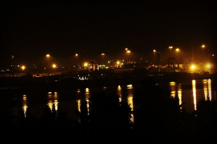 Illuminated Water Reflection Night Waterfront Dark Sky Outdoors Harbor Sea No People City Life Cochin Seaporthotel Rooftop View First Eyeem Photo