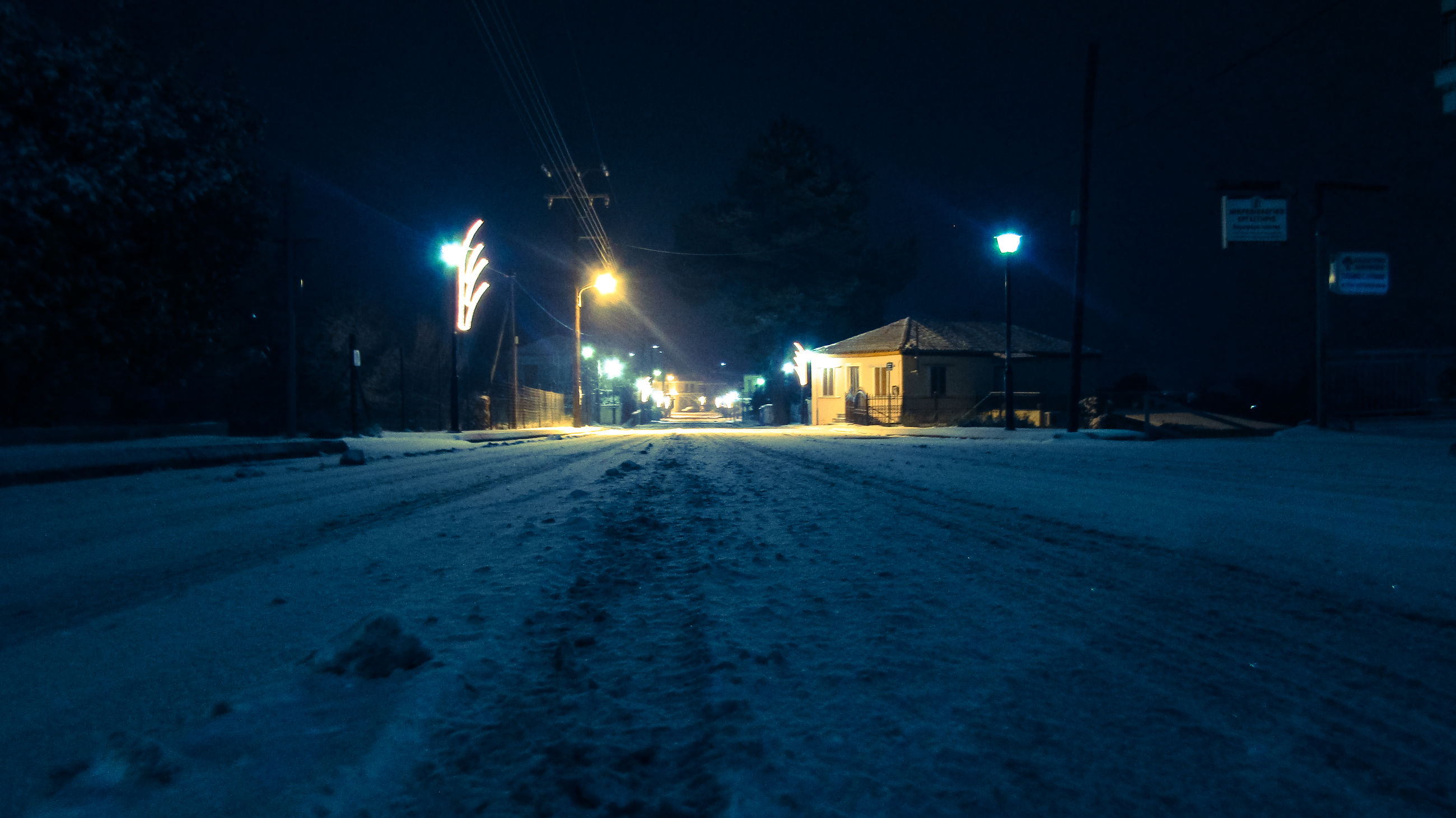 night, snow, winter, illuminated, street light, outdoors, cold temperature, building exterior, no people, road, architecture, sky, nature