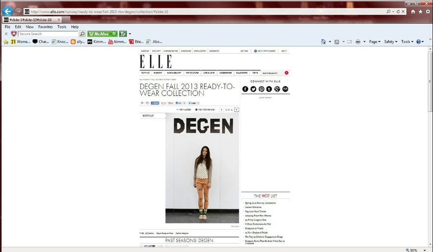 Press from Elle Magazine, New York Fashion Week Fall/Winter Degen Presentation NYC Presentation New York Model Fashion NY New York City Magazine Press Nyfw New York Fashion Week Elle Elle Magazine