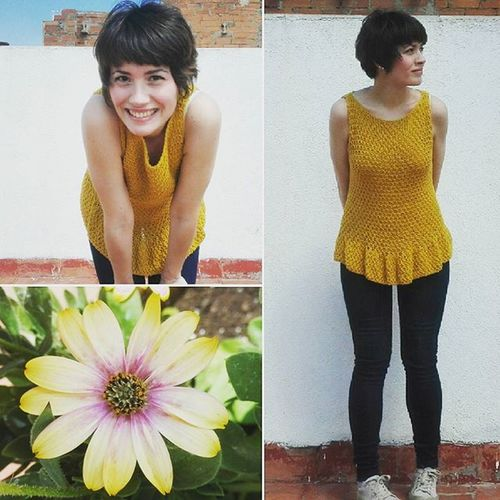 Top Peplum de Tatapatata ! Precioso, comodo y super ponible! Love Cotton Knit Knitwear Handknitted Handmadewithlove Ootd Drops Paris Senshoku Yellow Mustard Mori Hime Spring Madeinspain