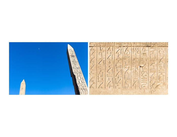 Karnak Temple with half moon above and detail of wall. Egypt Travel Photography Karnak Temple Hieroglyphics Canon 5d Mark Lll From The Archives
